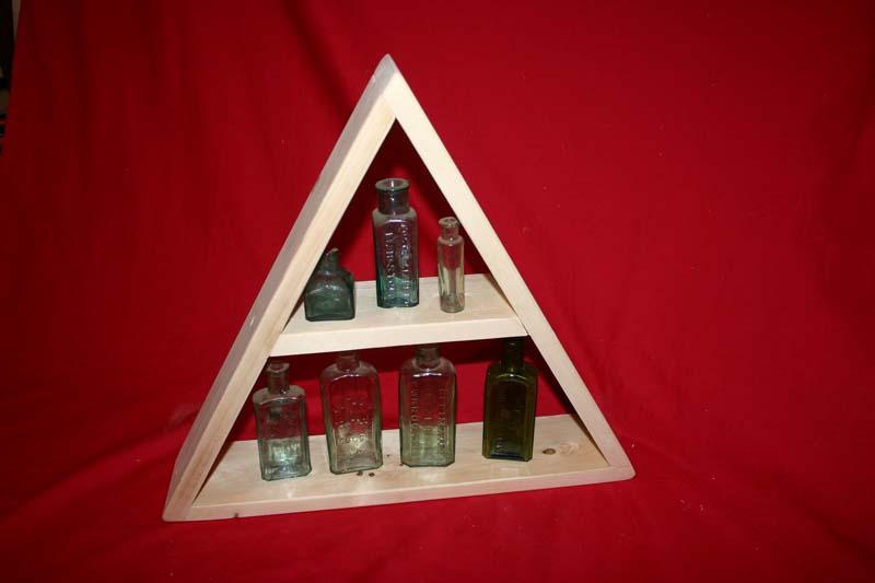 Triangle softwood display shelf